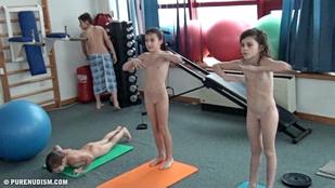 Nudist doing limbo teen